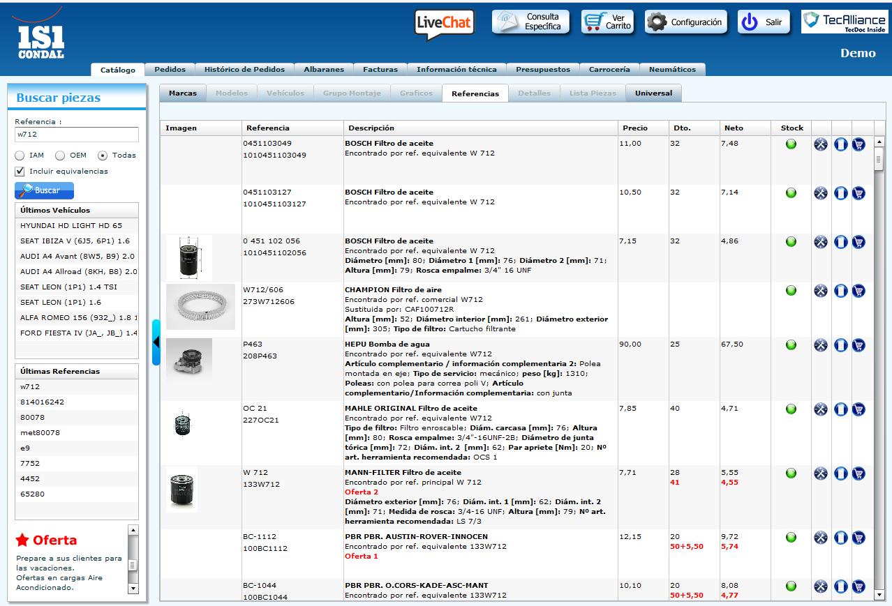 Tienda online i2i: consulta de equivalencias IAM y OEM, con precios y descuentos